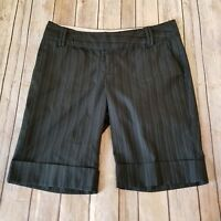 Maurices Size 7/8 Bermuda Shorts Black White Pinstriped Cuffed Dressy Womens