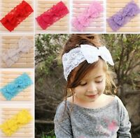 Baby Toddler Girl Lace Bow Elastic Wide Headband Photo Prop Hair Accessory