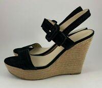 Marc Fisher Hipiee2 Black Suede Espadrille Wedge Heel Sandals Shoes Size 9M
