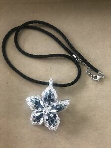 Nolan Miller Sapphire Blue White Crystals Flower Brooch Pendant cord necklace