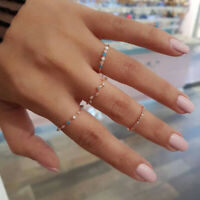 4 Pcs/set Bohemia Colorful Crystal Stone Finger Rings Set Wedding Jewelry Gif MW