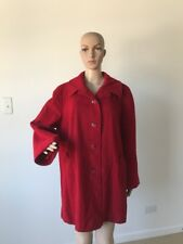 Vintage 1960's Bromleigh Red 100% Wool Swing Coat A-Line Stroller Length Size L