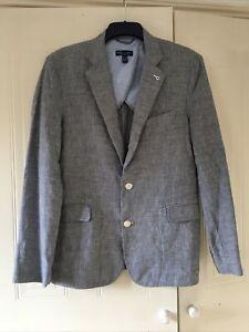Mens Blue Checked Pattern Jacket Blazer Mango Size Large Linen