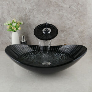 Black Oval Bathroom Glass Basin Vessel Sink Combo Waterfall Mixer Tap Faucet Set
