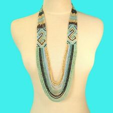 "34"" Waterfall Aqua Blue Multi Strand Handmade Seed Bead Statement Necklace"