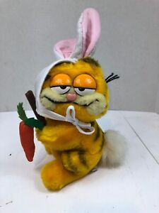 "Dakin 1981 VINTAGE GARFIELD CAT AS EASTER BUNNY 8"" Plush STUFFED ANIMAL PB3"