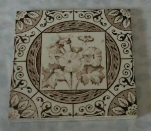 ENGLISH arts & craft flower antique PERIOD TILE