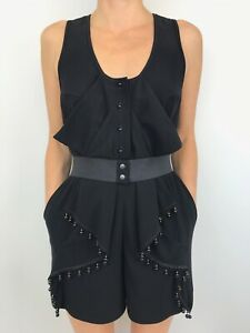 ALICE MCCALL black short romper playsuit stretch belt with beading size 8