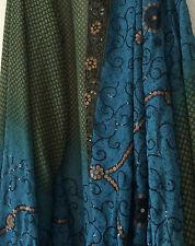 Sari Saree Indian Bollywood India Wrap Costume Party Wear 208 x 45 Blue Green