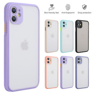 For iPhone 12 Pro Max 11 Pro X XR 7 8 SE2 TPU Bumper Clear Matte Back Case Cover