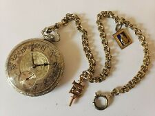Antique Working 1928 SOUTH BEND 17J Silver Art Deco Pocket Watch w/ Fobs & Chain