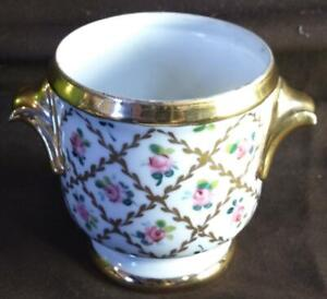 Vintage Chintz French Porcelain Small Cache Pot Planter France Hand Painted