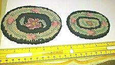 2 VINTAGE DOLLHOUSE MINIATURE HOOKED PETTY'S HAND MADE RUGS ACCESSORY LOT