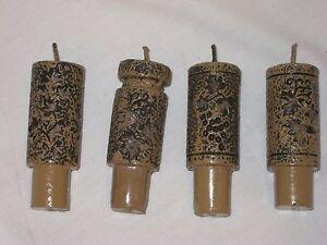 Set Of 4 Wine Bottle Cork Wax Candles, Vine & Grape Design