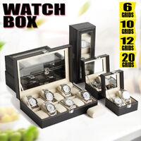 6 10 12 20 Slot Watch Box Leather Display Case Organizer Glass Jewelry Storage