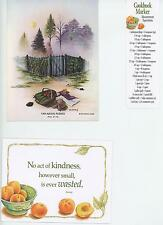 1 PEACH THUMBPRINT COOKIE RECIPE CARD 1 VINTAGE GARDEN GATE  NOTE CARD ART PRINT