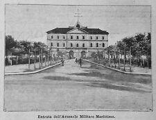 1899 =TARANTO,ENTRATA ARSENALE MARITTIMO =PUGLIA. Xilo+Passepartout.Etna.Premoli