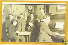 Real Photo Postcard RPPC - Men Checkers & Crown Piano