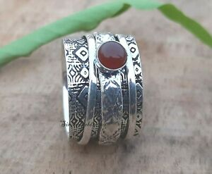 Carnelian Spinner Ring 925 Sterling Silver Plated Handmade Ring Size 8 zz606