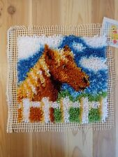 """Completed Latch Hook Panel BROWN HORSE 12"""" x 12"""" Throw Pillow Wall Hanging"""