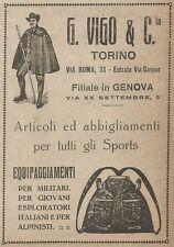 W9098 G. VIGO & C. Torino - Abbigliamento per Sports - Pubblicità del 1917 - Ad