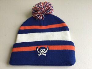Under Armour Hockey Adult Pom Beanie Orange & Blue w pirate logo