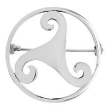 Plata de Ley Tradicional Celta Ancient Trisquel Trispirals Diseño Redondo