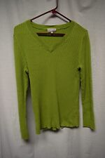Womens Sweater Size L By Fashion Bug Green Long Sleeve Pull Over V-Neck Ribbed