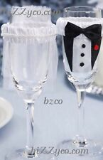 BRIDE & GROOM  Wedding Glass ,Wine ,Flute Covers / Decoration LIMITED TIME PRICE