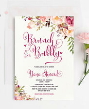 Floral Brunch & Bubbly Bridal Wedding Shower Invitation Rustic Chic Party Invite