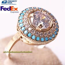 Handmade 925 Sterling Silver Round Zircon and Turquoise Stone Ladies Womans Ring