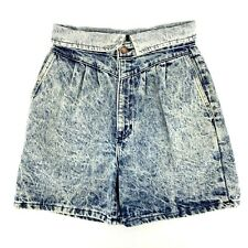 Vintage Acid Wash 80s 90s High Rise Mom Jean Shorts Pleated Denim Womens 28