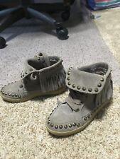 Ash Girls Shoes Kids Fringed Studded Suede Moccasin Boots Katmandou $160 Size 30