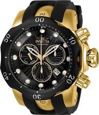 New Mens Invicta 24257 Venom Chronograph Black Silicone Strap Watch