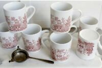 Set of 8 Asian Themed Tea Cups Coffee Mugs Red & White Made In England