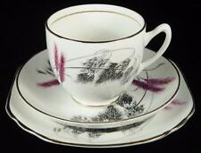 Duchess Feather Fern Pink & Grey Leaves Bone China Cup/Saucer/Plate Trio