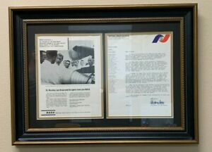 Wernher von Braun Autographed/Signed Letter (Amazing Subject) & NASA Ad - FRAMED