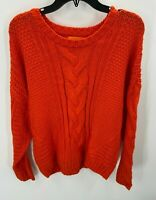 One A Nordstrom Womens Large Sweater Riot Orange Cable Knit Crew Neck NWT