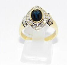 Yellow Gold Ring 18 Carats Sapphire Diamonds