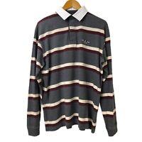Men's Colorado Long Sleeve Multicolour Striped Polo Shirt Collared Neck Size L