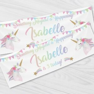 Personalised Unicorn Birthday Party Banner - Children Party Banners x 2