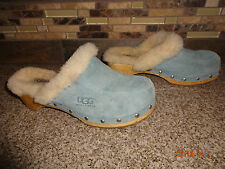 Womens UGG Sz 6/37 Light Blue Suede Leather Mules/Slide Clogs Shoes