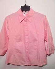 Norm Thompson Peach 3/4 Sleeve Cotton Stretch Button Shirt Size M