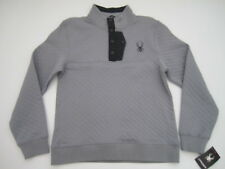 Mens Large Spyder T Snap quilted gray pullover sweater sweatshirt NWT