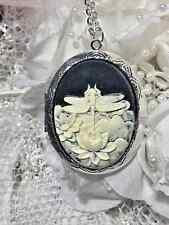 #JR6715 URN DRAGONFLY BLACK WEDDING Cameo PHOTO Necklace Locket 925 plt QUALITY