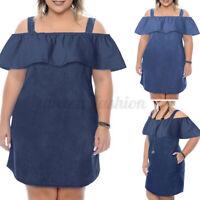Womens Off Shoulder Ruffled Dress Oversized Denim Slip Dress Ladies Short Dress