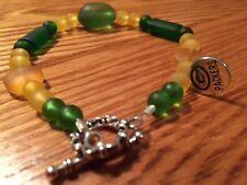 GREEN BAY PACKER CULTURED BEACH SEA GLASS BRACELET EX- LARGE GREEN GOLD handmade