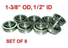 "LOT OF 8, BEARINGS 1-3/8"" OD, 1/2"" ID, FLANGED, GO KARTS, GO CARTS, LAWNMOWERS"
