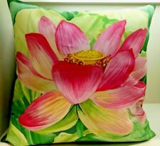 Jim Thompson Unique Thai Pink Lotus 100% Art of Silk Square Pillow Case Cover.