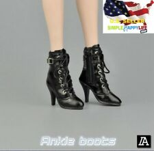 "1/6 women black ankle boots for phicen verycool hot toys 12"" female figure ❶USA❶"